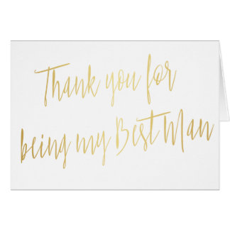 "Modern Gold ""Thank you for being my best man"" Card"