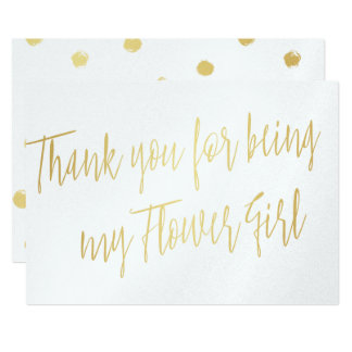 "Modern Gold ""Thank you for being my Flower Girl"" Card"