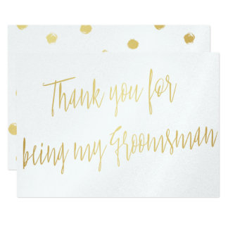 "Modern Gold ""Thank you for being my groomsman"" 13 Cm X 18 Cm Invitation Card"