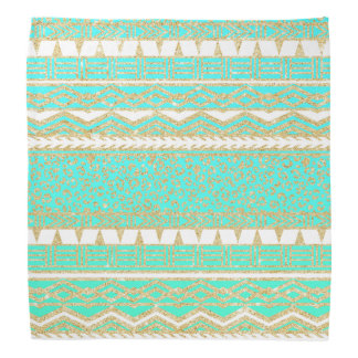 Modern gold turquoise teal ombre aztec pattern bandana