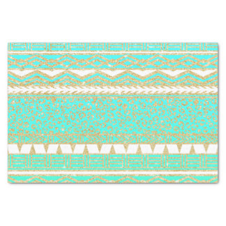 Modern gold turquoise teal ombre aztec pattern tissue paper