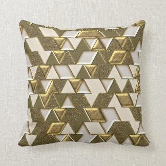 Modern Gold White Faux Metal Triangles Cushion