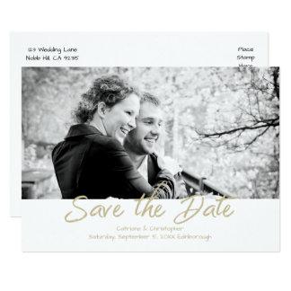 Modern Gold White Handwritten Photo Save the DAte Card