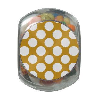 Modern Gold White Polka Dots Pattern Glass Candy Jars