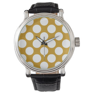 Modern Gold White Polka Dots Pattern Watch