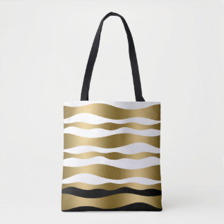 Modern Gold & White Zebra Stripes Black Accent Tote Bag