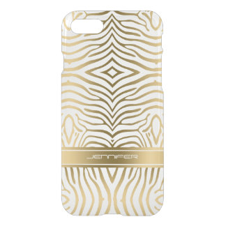 Modern Gold Zebra Stripes White Background iPhone 7 Case