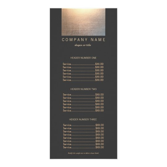 Modern Gold Zen Glow Salon Price List Menu