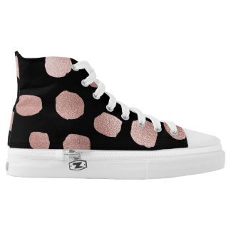 Modern Golden Foil Pink Painted Dots Printed Shoes