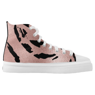 Modern Golden Foil Pink Painting Grill Printed Shoes