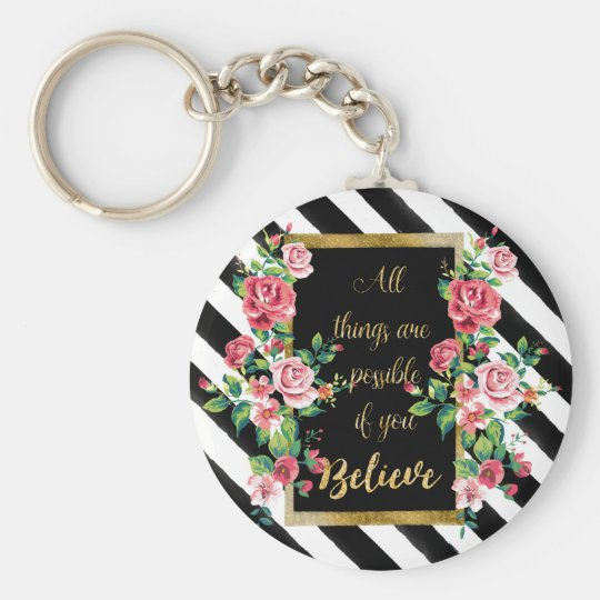 Modern golden inspirational quote key ring