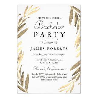 Modern Golden Leaf Bachelor Party Invite