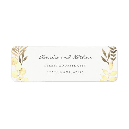 Modern Golden Leaf Return Address Label