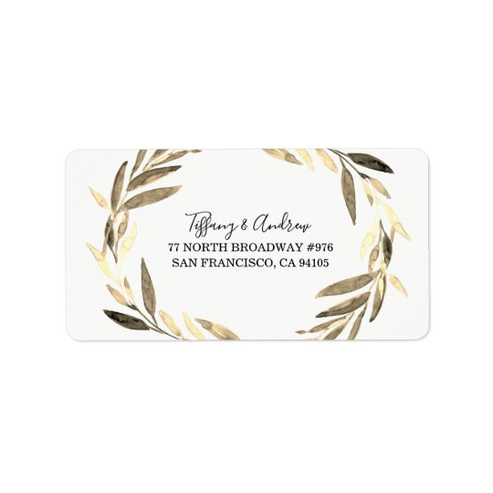 Modern Golden Leaf Wreath Return Address Label