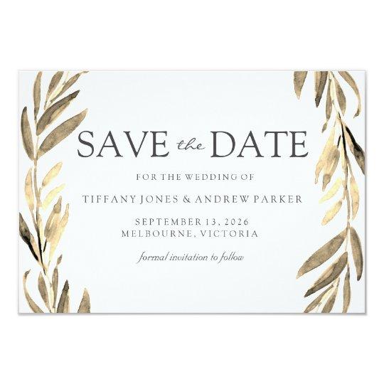 Modern Golden Leaf Wreath Save The Date Card