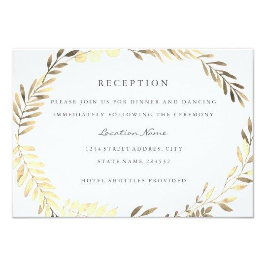 Modern Golden Leaf Wreath Wedding Reception Card