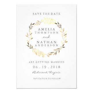 Modern Golden Leaf Wreath Wedding Save The Date Card