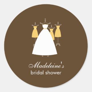 Modern Gowns Favor Stickers - Mustard