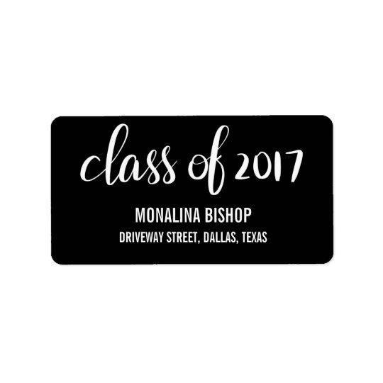 Modern Graduate Class Of 2017 Typography Black Address Label