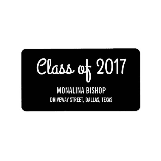 Modern Graduate Class Of 2017 Typography Black Address Label
