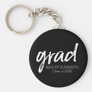Modern Graduate Custom Trendy Black Grad Basic Round Button Key Ring