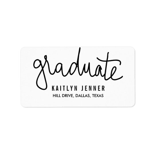 Modern Graduate Typography Black Chic Address Label
