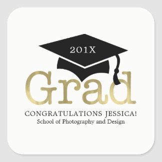 Modern Graduation Cap Square Sticker