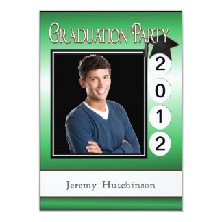 Modern Graduation Party Custom Photo Date in Green 13 Cm X 18 Cm Invitation Card