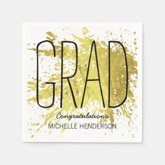 MODERN GRADUATION PERSONALIZED FAUX GOLD DISPOSABLE SERVIETTES