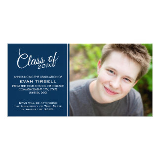 Modern Graduation Photo Announcement - Navy Blue Card
