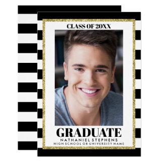 Modern Graduation Photo Black White Announcement