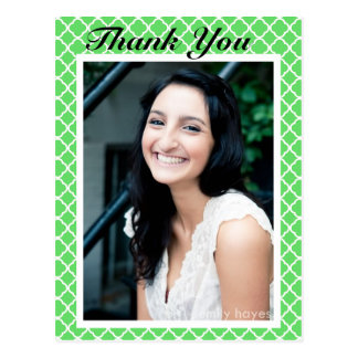 Modern Graduation Photo Green Quatrefoil Post Card