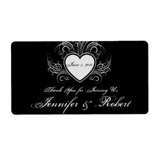 Modern Graffiti Heart Wedding Water Bottle Label Shipping Label