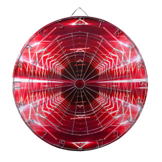 Modern Graphic Abstract Cool Glowing Vortex, Red Dartboard