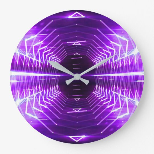 Modern Graphic Abstract Glowing Vortex, Purple Large Clock