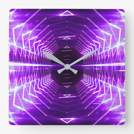 Modern Graphic Abstract Glowing Vortex, Purple Square Wall