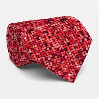 Modern Graphic Block Pattern, Red - Tie