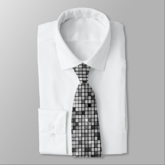 Modern Graphic Block Pattern, Silver - Tie