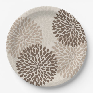 Modern Graphic Chrysanthemums Party Plates 9 Inch Paper Plate