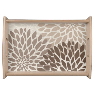 Modern Graphic Chrysanthemums Serving Tray