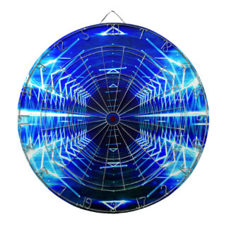 Modern Graphic Cool Glowing Vortex, Electric Blue Dartboard