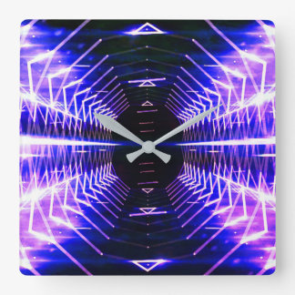 Modern Graphic Cool Glowing Vortex, Ultra Violet Wall Clocks