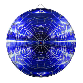 Modern Graphic Glowing Vortex, Blue Dartboard