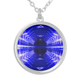 Modern Graphic Glowing Vortex, Blue - Silver Plated Necklace
