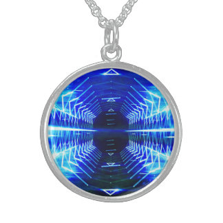 Modern Graphic Glowing Vortex, Blue - Sterling Silver Necklace