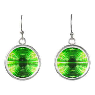 Modern Graphic Glowing Vortex - Earrings