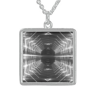 Modern Graphic Glowing Vortex, Gray - Sterling Silver Necklace