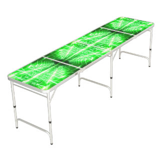 Modern Graphic Glowing Vortex, Green - Beer Pong Table