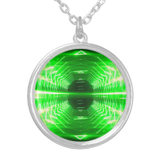 Modern Graphic Glowing Vortex, Green - Silver Plated Necklace