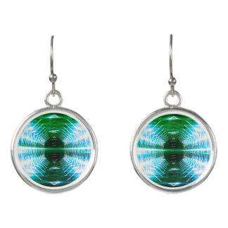 Modern Graphic Glowing Vortex, Jade - Earrings